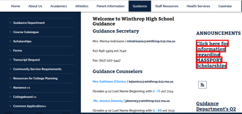 Guidance homepage where students select courses.