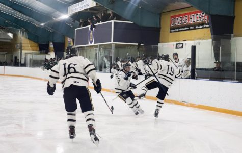 Senior Michael Brooks celebrates with his team after scoring a goal in the first period.